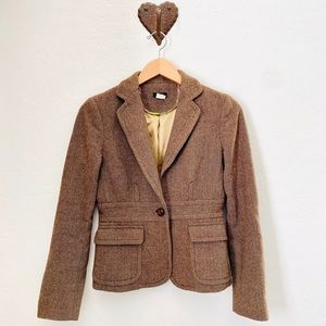 J.CREW- Brown Tweed Blazer with peplum